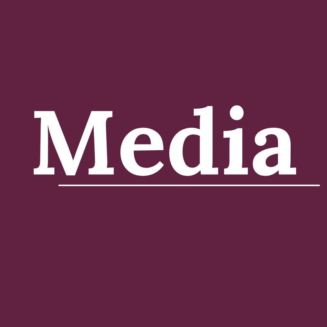purple square with media written in white