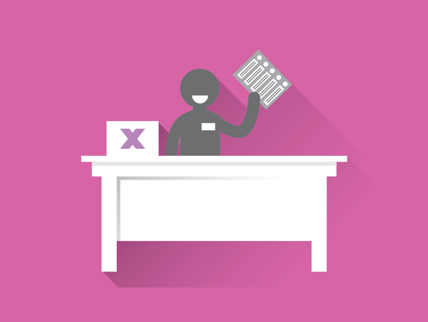 Illustration of an Elections Canada worker at a desk holding a ballot