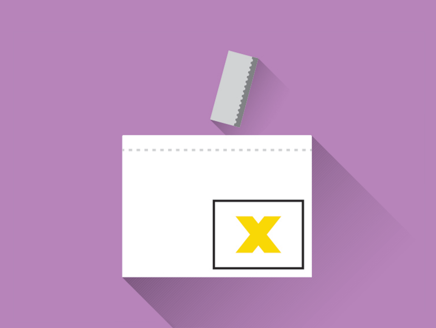 Illustration of a ballot being cast into a ballot box