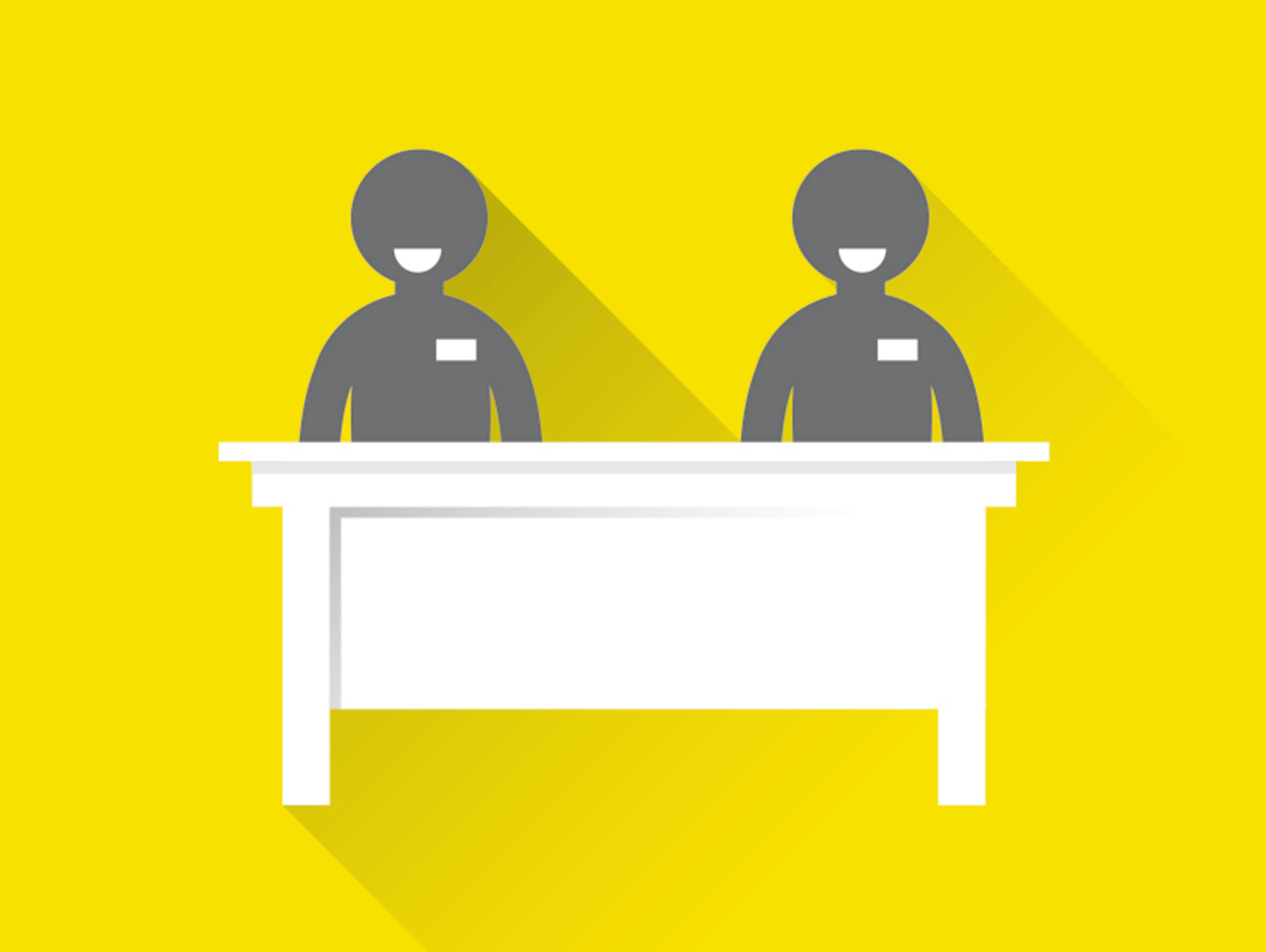 Illustration of two Elections Canada workers at a desk