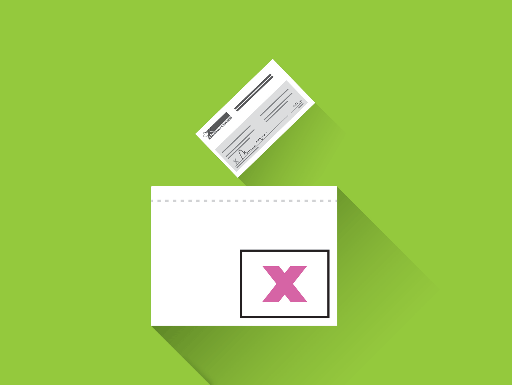 Illustration of a sealed voting envelope being cast into a ballot box