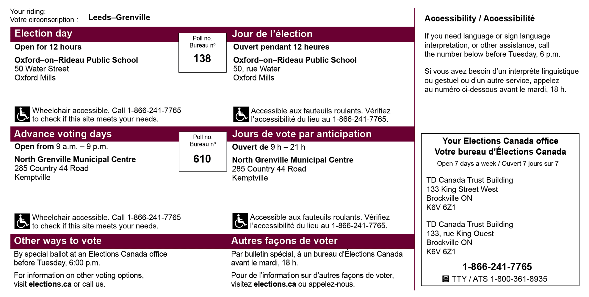 Image of an Elections Canada voter information card showing where to vote on election day, at advance polls, the accessibility of the polling stations, and how to get more information about accessibility and other ways to vote