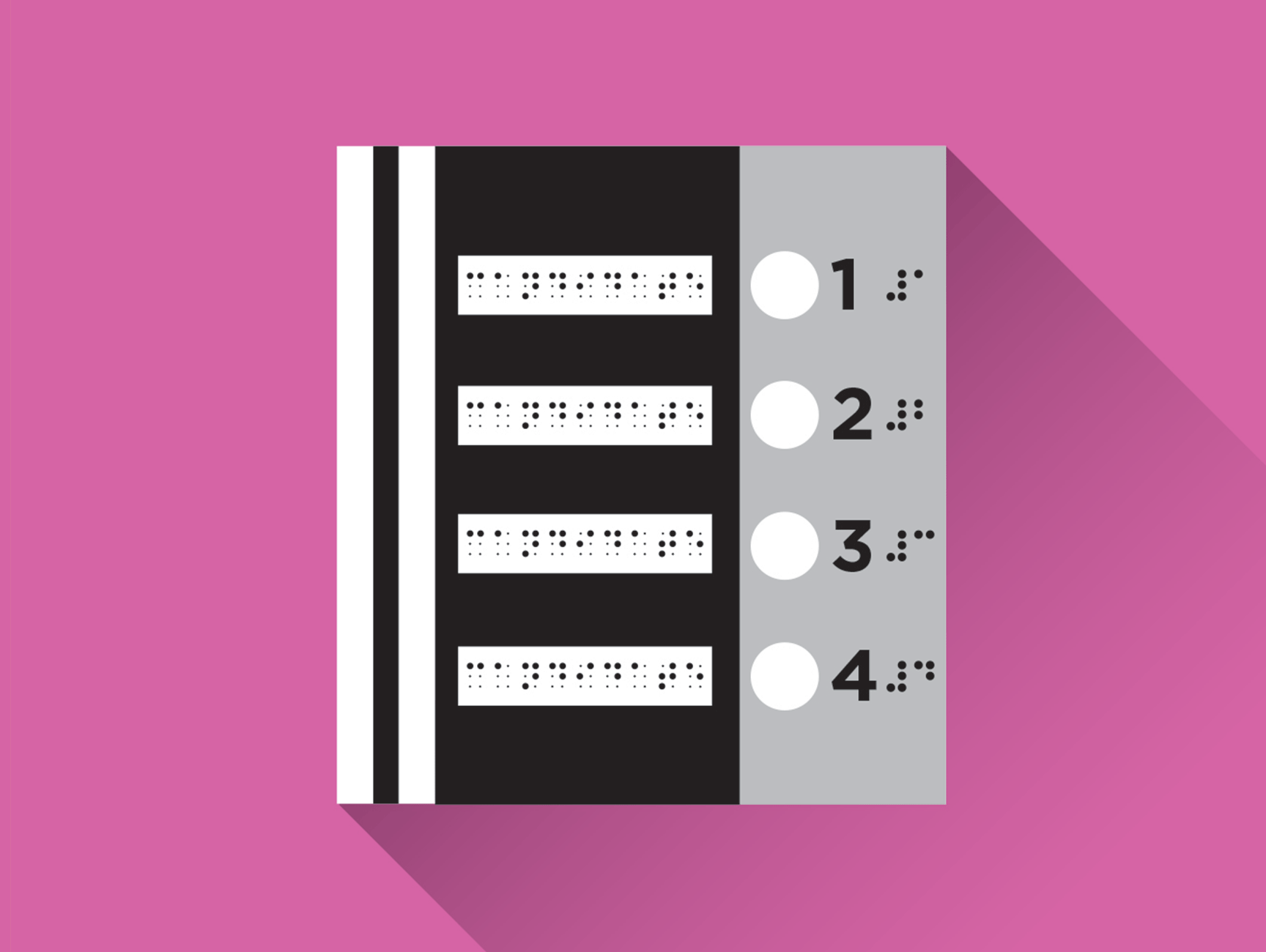 Illustration of a braille voting ballot