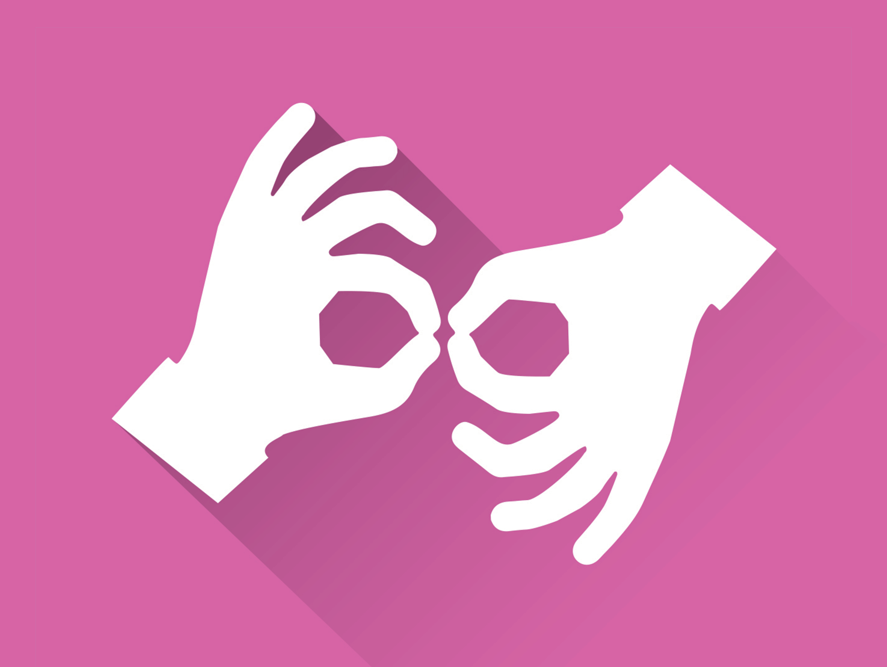 Illustration of two hands performing sign language